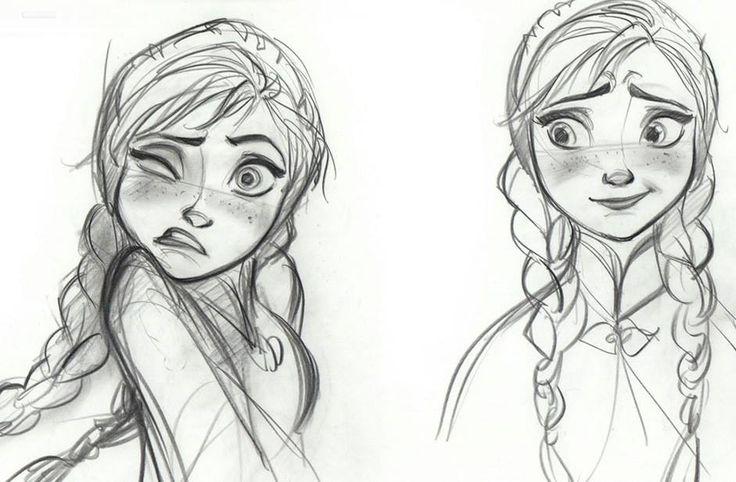 Disney Frozen Anna Sketches Details