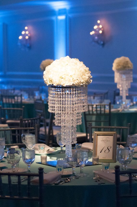 Glamorous Madison Chandelier Centerpiece With Riser Wedding Special Occasion This Beautiful Acrylic Beaded