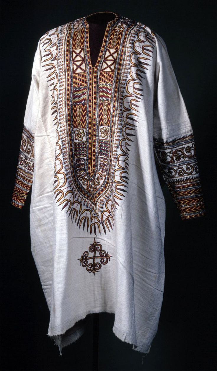 Africa Tunic From Ethiopia Cotton Embroidered With Silk