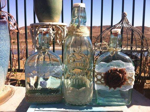 Wedding Sand Ceremony Bottles Vintage Glass Jugs Decorated With Burlap Lace And Jute Farmhouse