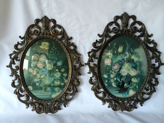 Brass Oval Frames, Made In Italy, Vintage Floral Prints
