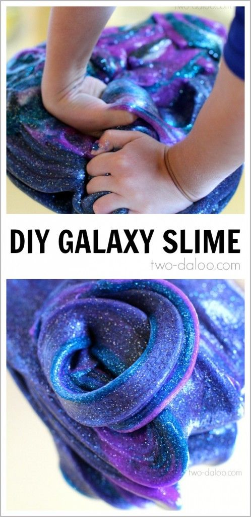 Make this beautiful, sparkly, stretchy slime that looks just like the swirls of a galaxy and keep your preschooler entertained for