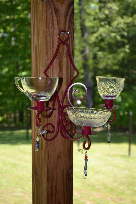 Bird Feeder Upcycled Shabby Chic Red Glass Recycle