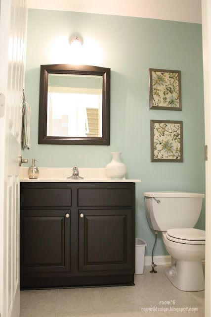 love this color for a bathroom! 1/2 Bath – Love this!  Paint is Valspar Glass Tile.  Also, I love that she bought fabric, painted