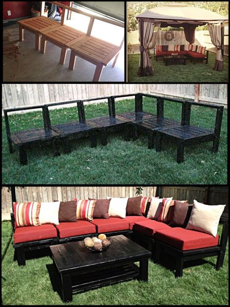 outdoor patio furniture ideas DIY Patio Furniture! My husband made this sectional sofa