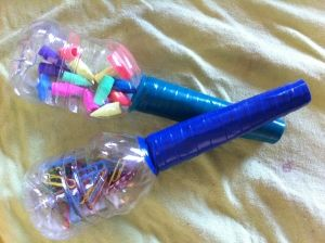 Cool looking, homemade maracas. They look easy enough to make and can be used by children! They would be a great experience for kids who have never experienced this kind of music before.