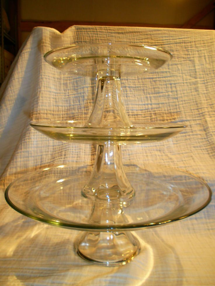 Anchor Hocking 3 Pctiered Pedestal Clear Glass Cake Plate