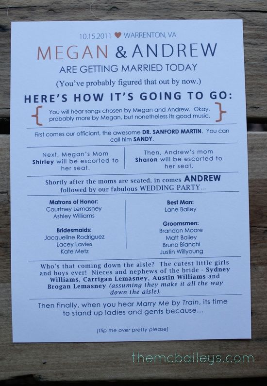 Simple Wedding Ceremony Program Outline