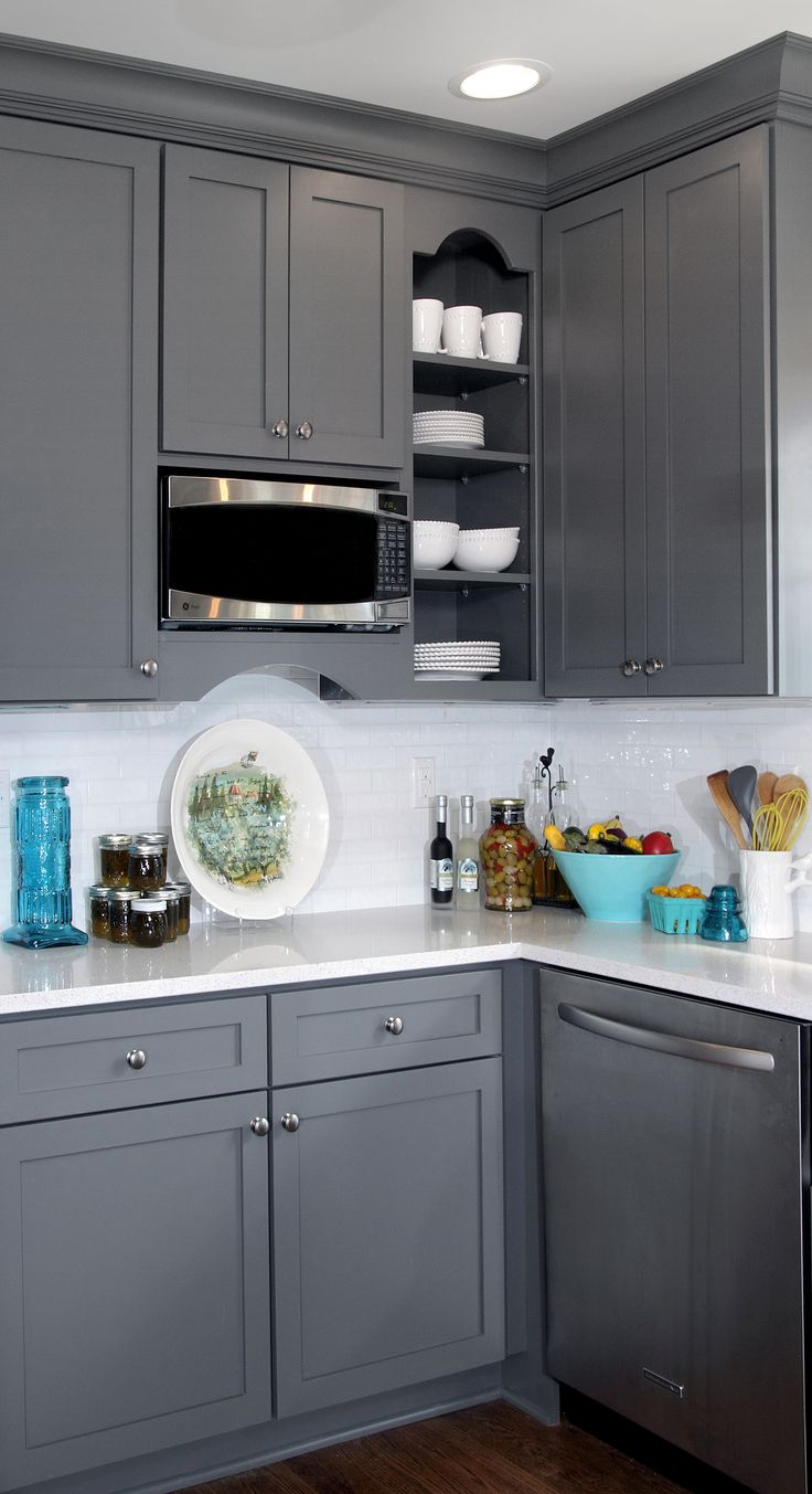 gray and white transitional kitchen design with teal blue and yellow accents featuring gray on kitchen ideas white and grey id=68373
