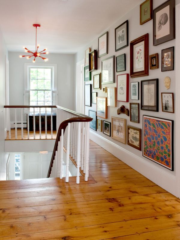 "Use an eclectic mix when filling a hallway wall. This collection is easier to ""s"