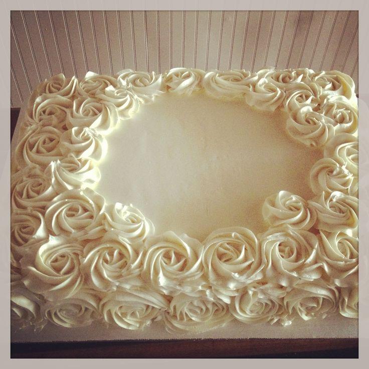 Buttercream Rose Sheet Cake Cake Decorating Ideas