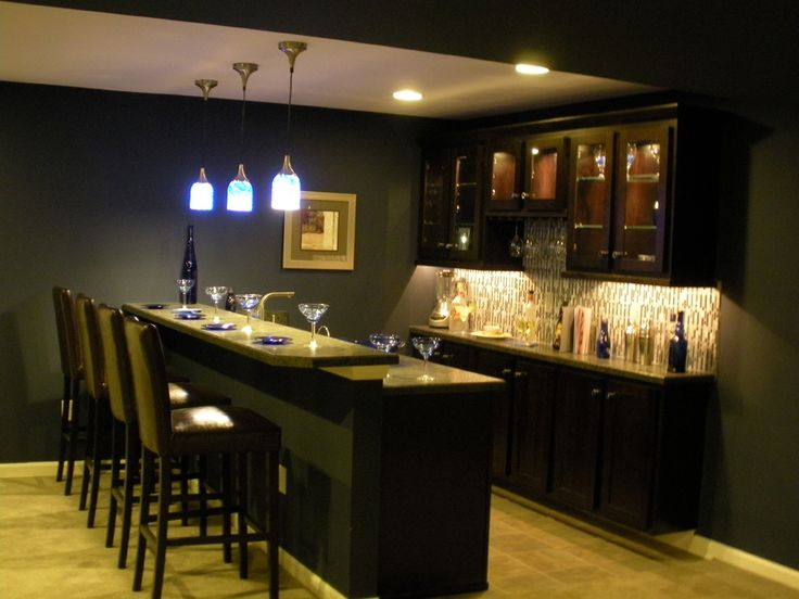 Basement Bar---back Wall Cabinet Layout And Lights- This