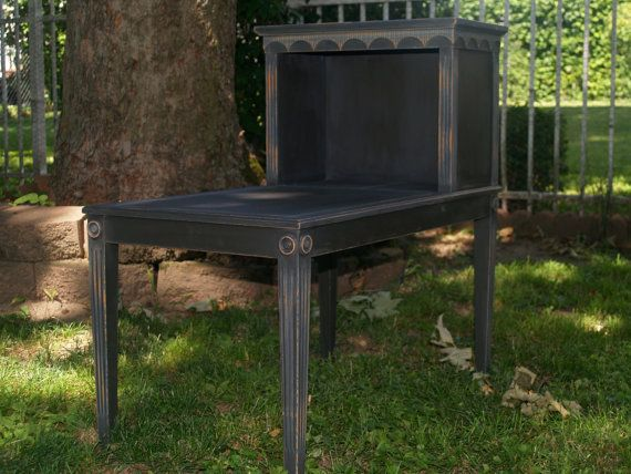 Two Tier End Table Chalk Painted And Distressed