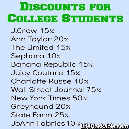 Discounts for college students (make sure you have your college ID)