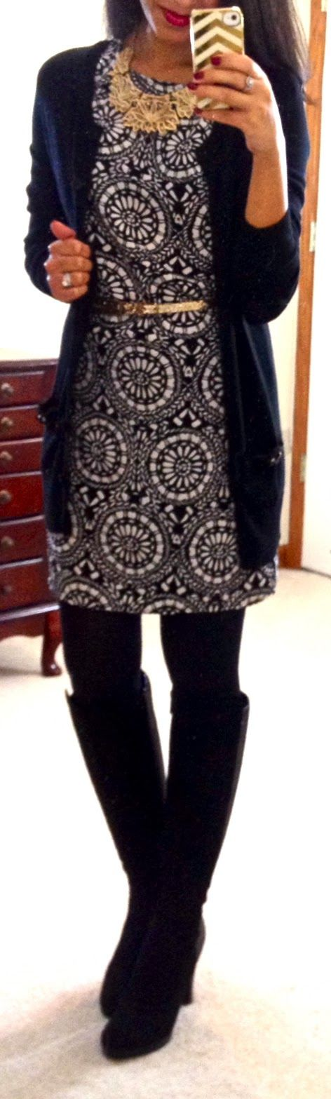 Have the black and white dress, long black cardigan. Love the gold bling.