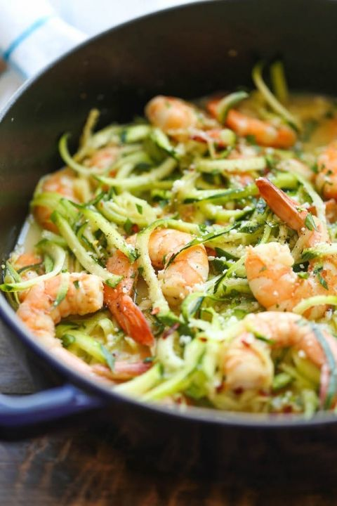 Zucchini Shrimp Scampi – Traditional shrimp scampi made into a low-carb dish with zucchini noodles. It's unbelievably easy, quick