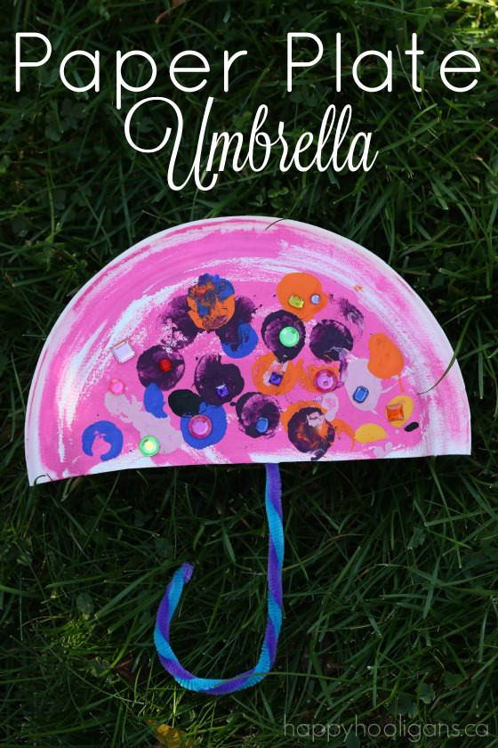 Paper Plate Umbrella – an easy Letter U craft for toddlers and preschoolers.  Great rainy day craft, or for a preschool weather