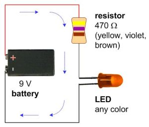 A schematic with a 9V battery, 470 ohm resistor, and a