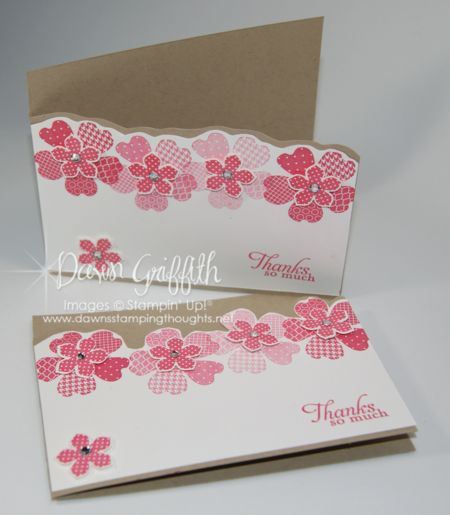 Petite Petals pack a big punch (ha, pun intended!) on this handmade thank you card!  Flowers in different shades of pink are great