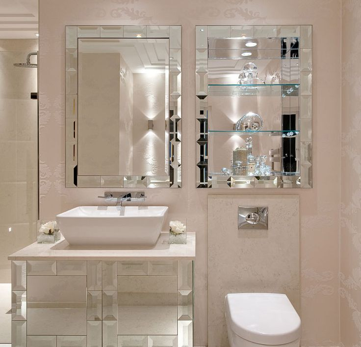 Luxe Designer Tiffany Mirror Bathroom Vanity Set Sharing