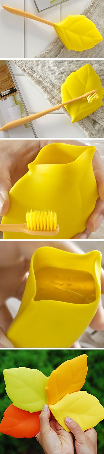 Leaf toothbrush cover that converts into a drinking /rinsing cup! Perfect for camping or travel – genius! #product_design