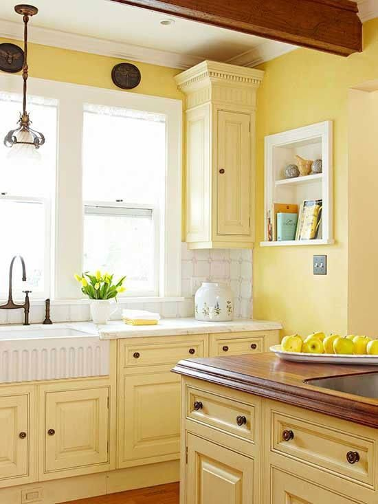 26 best images about yellow kitchens on pinterest how to spray paint white cabinets and on kitchen interior yellow and white id=14399