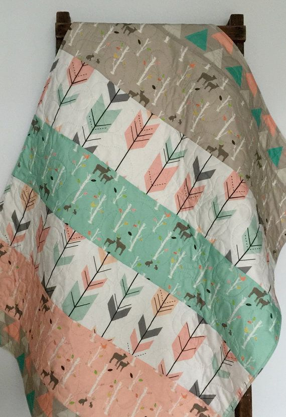 Baby Quilt, Birch Deer Forest, Woodland, Birch Trees, Mod, Coral, Mint, Gray, Baby Blanket, Baby Bedding, Crib Bedding, Nursery