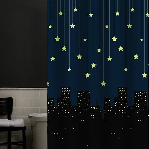 Shower Curtain That Glows In The Dark Could Be Good For A Regular Curtain In The Nursery