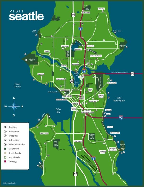map of seattle   Maps for Seattle and Washington State ...