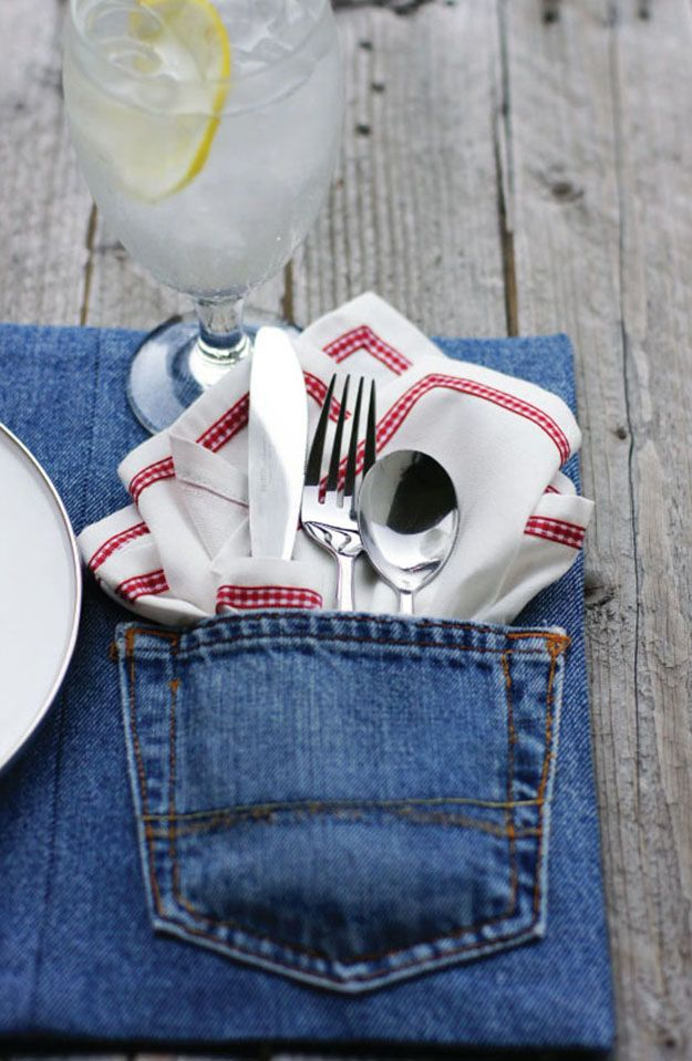 Easy Sewing Pattern for Beginners   Repurposed Old Jeans DIY Ideas   DIY Denim Placemat Upcycling Idea   D