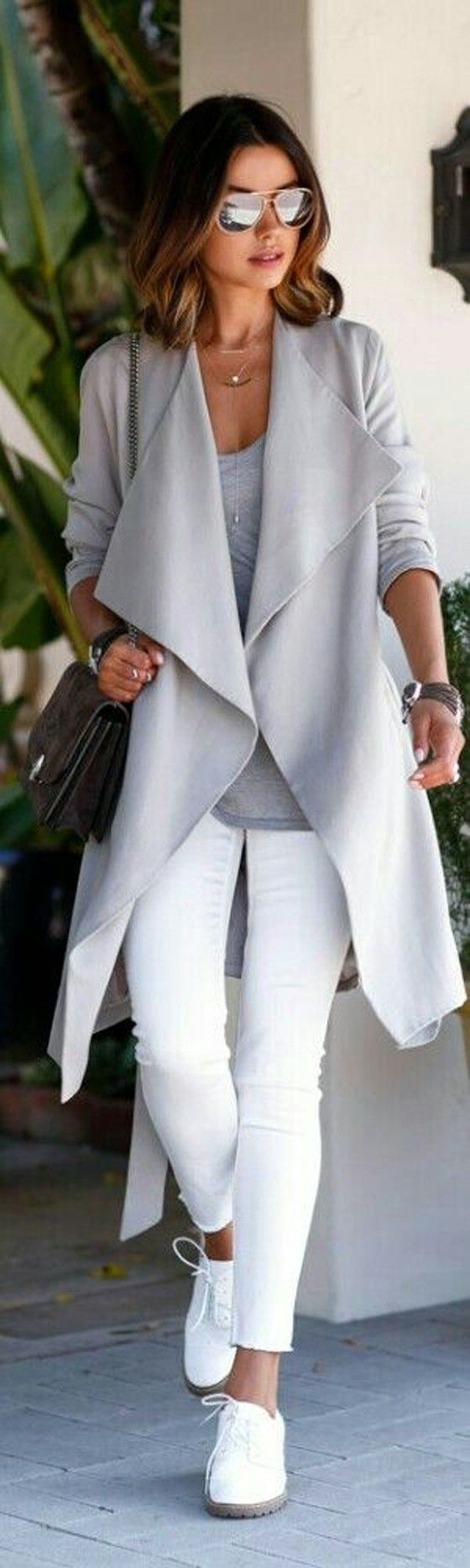 Grey Plain Belt Pockets Turndown Collar Long Sleeve Trench Coat - Outerwears - Tops: