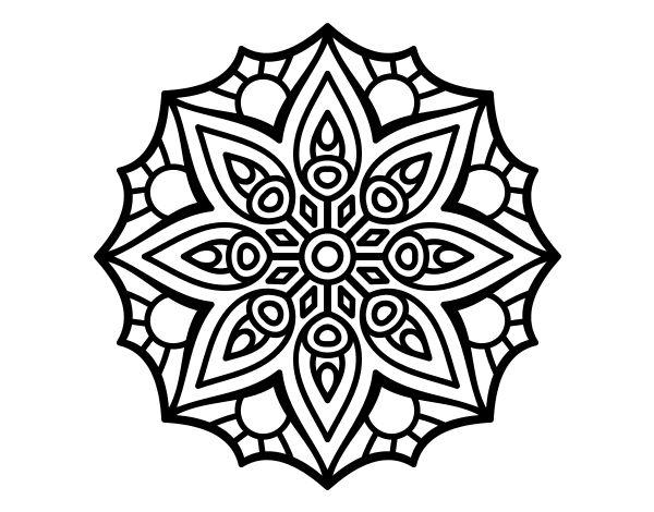 Dibujo De Mandala Simetra Sencilla Para Colorear