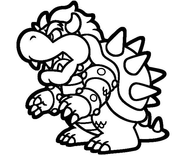 printable super mario 3d land bowser characters coloring