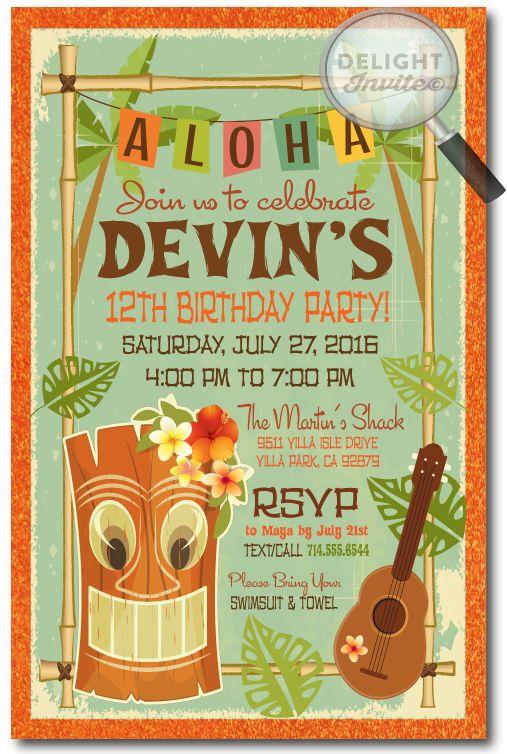 Retro Hand Made Hawaiian Tiki Luau Party Invitations