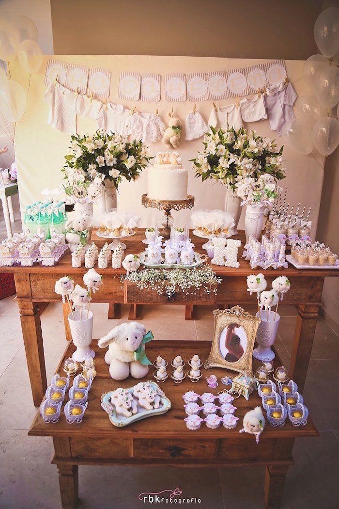 Dessert Table From A Little Lamb Baby Shower Via Kara S