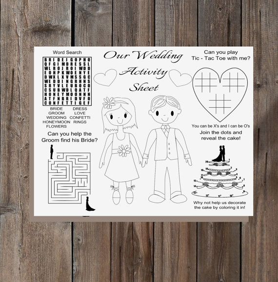 Kids Activity Wedding Kit Printable Childrens
