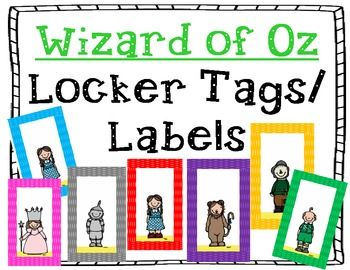 Wizard of Oz Locker Tags perfect for lockers, table, center or classroom labels.