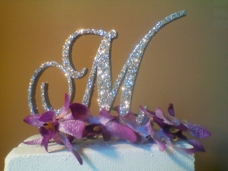 3D Monogram Wedding Cake Topper Set Of 2 Silver Glitter