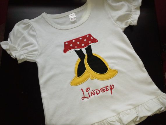 Appliqued Girl Mouse Feet Shirt With Name / Personalized ...