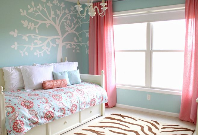 Teal White And Coral Bedroom Coral Pinterest Kid