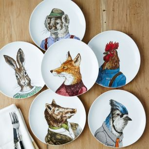 Image result for porcelain plates displaying roosters, Blue Jays, bunnies, bears, and other creatures dressed in their best.
