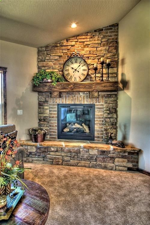 Stone And Brick Fireplace This Would Look Awesome In The Corner Of The Living Room Dream