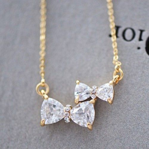 Cute Two Bowknot Rhinestone Pendant Necklace for only $15.90 ,cheap Fashion Necklaces – Jewelry&Accessories online shopping,Cute