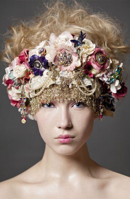 Massive Flower Gemstone Headpiece Burlesque Art