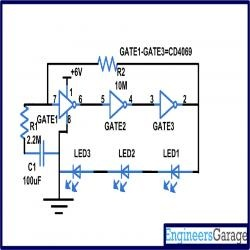 CD4049 Based LED torch Circuit Diagram | Electronic Circuits | Pinterest