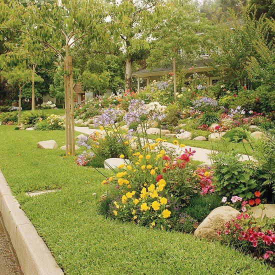 sidewalk garden Front-Yard Sidewalk-Garden Ideas | Gardens, Flower and Curves