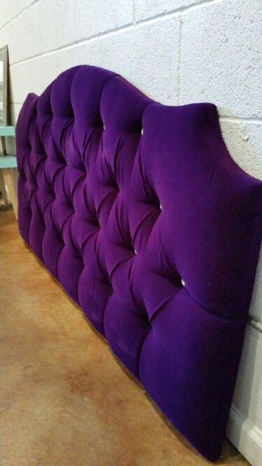Queen Tufted Upholstered Headboard Purple Velvet Crystal