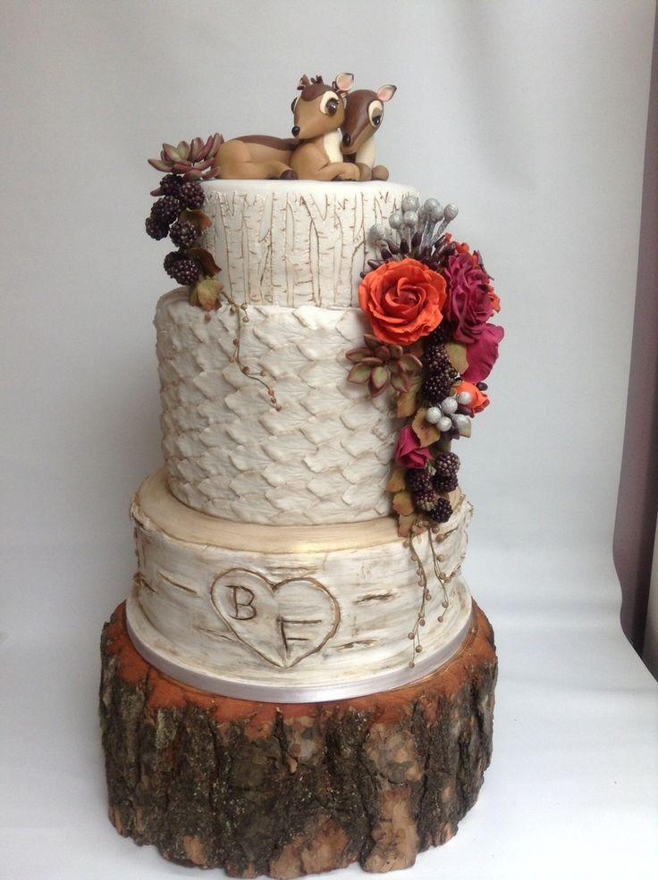 Autumn Woodland Birch Tree Wedding Cake Deer Bambi Cake