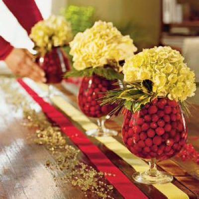 Cranberries are so pretty to decorate with, I have used cranberries and green apples at Christmas or small limes works good too: