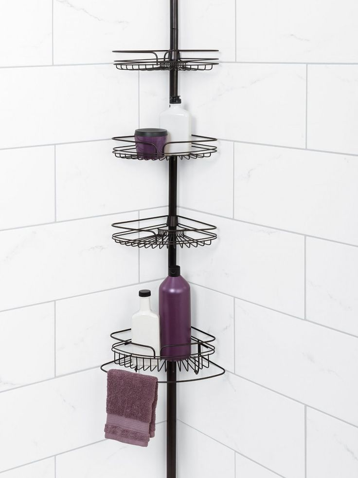 Bathroom Wrought Iron Tension Pole Corner Shower Caddy Design Black Metal Open Rack With 4